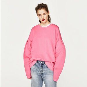 Zara Trafaluc Pink Oversized Sweatshirt Size M/L
